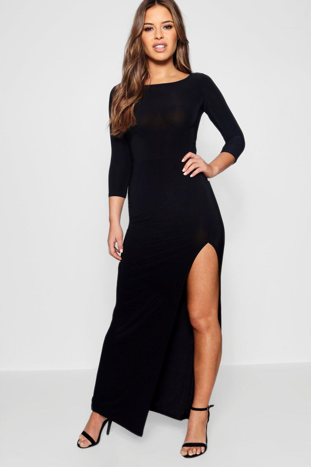 Petite Candice Side Split Slinky Maxi Dress