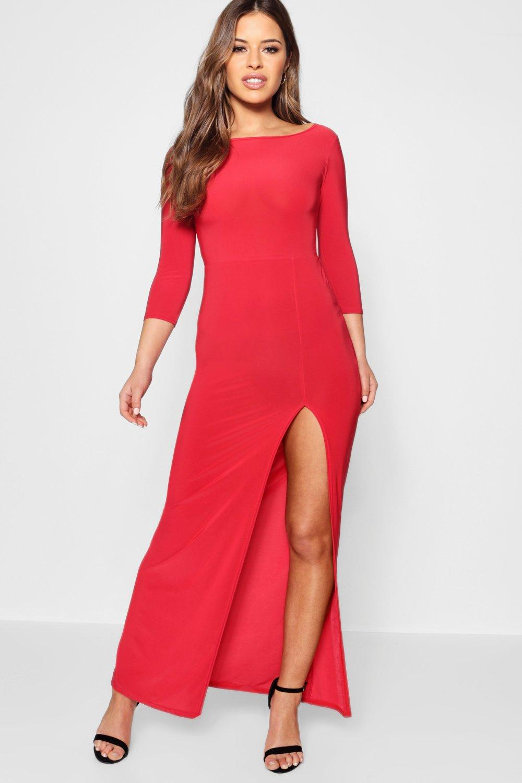Candice Side Split Slinky Maxi Dress - red
