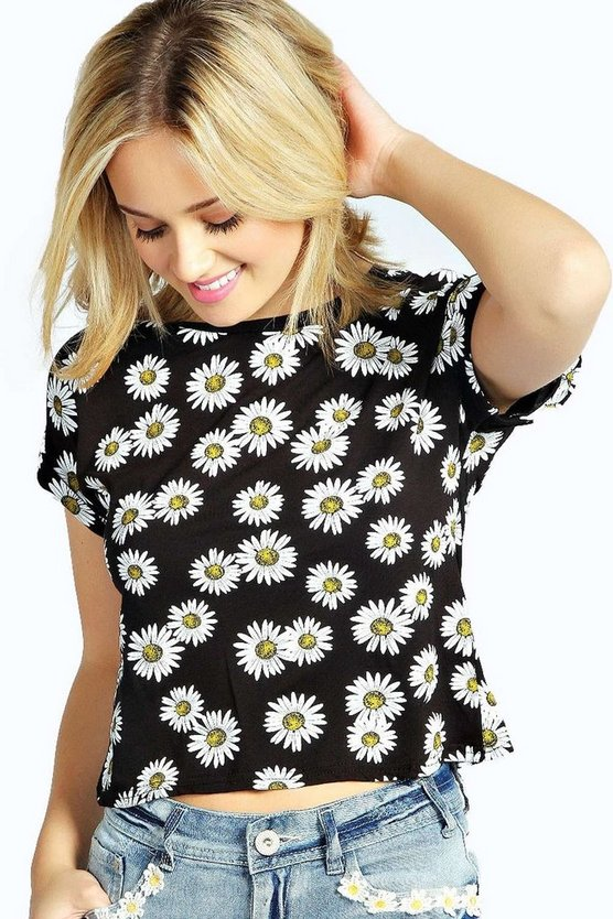 Caitlin Daisy Print Turn Back Crop Tee