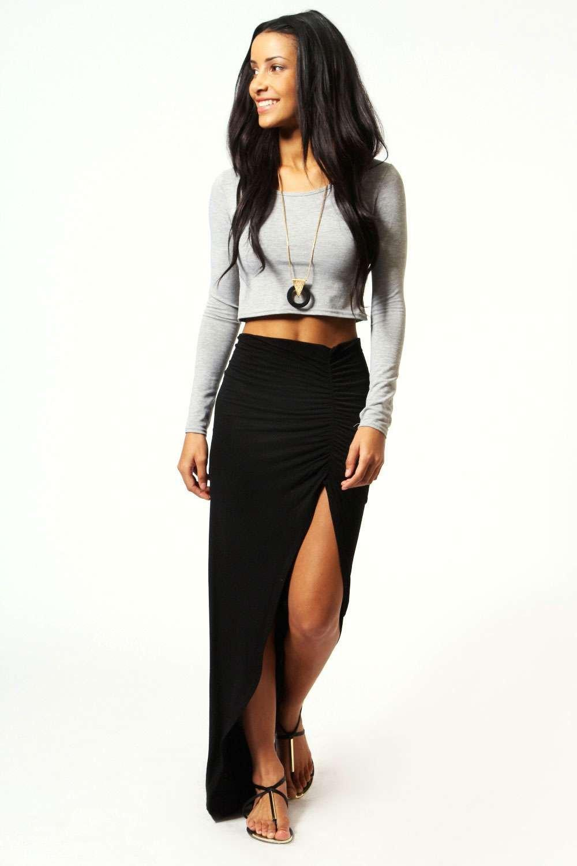 Michelle Viscose Maxi Skirt  black