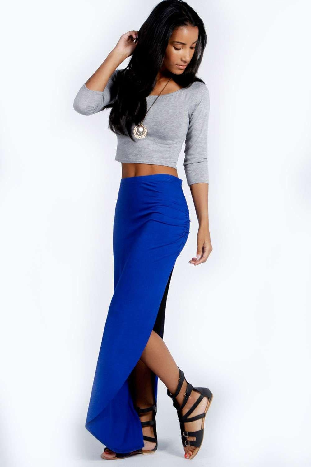 Michelle Viscose Maxi Skirt  cobalt