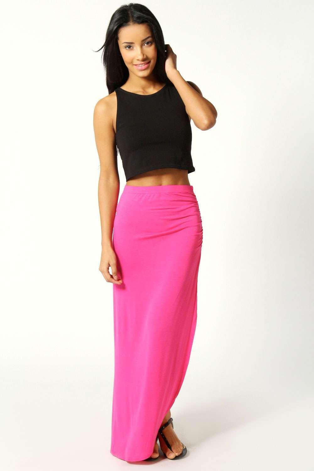 Michelle Viscose Maxi Skirt  pink