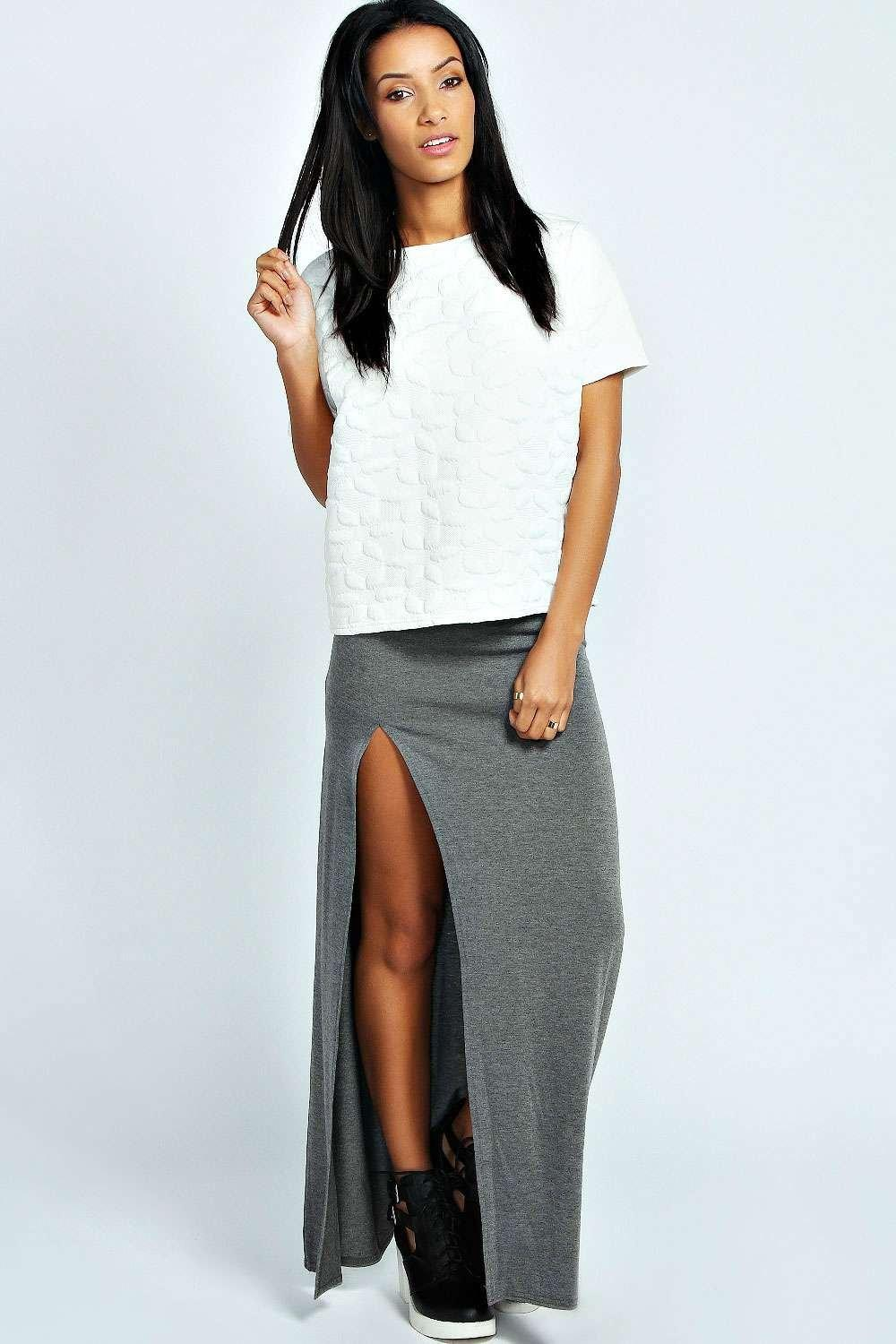 Petite Soraya Thigh High Split Jersey Maxi Skirt