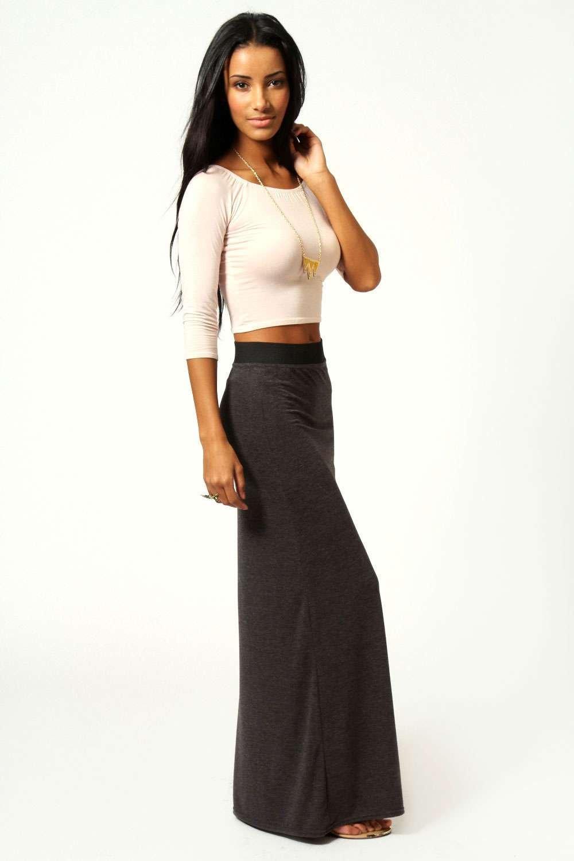 Petite Helena Contrast Waistband Jersey Maxi Skirt