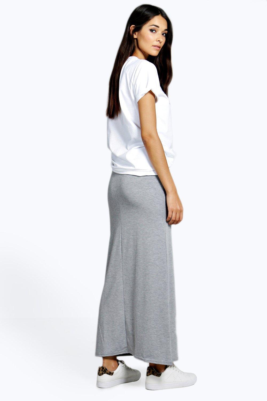 Petite Helena Contrast Waistband Jersey Maxi Skirt at boohoo.com