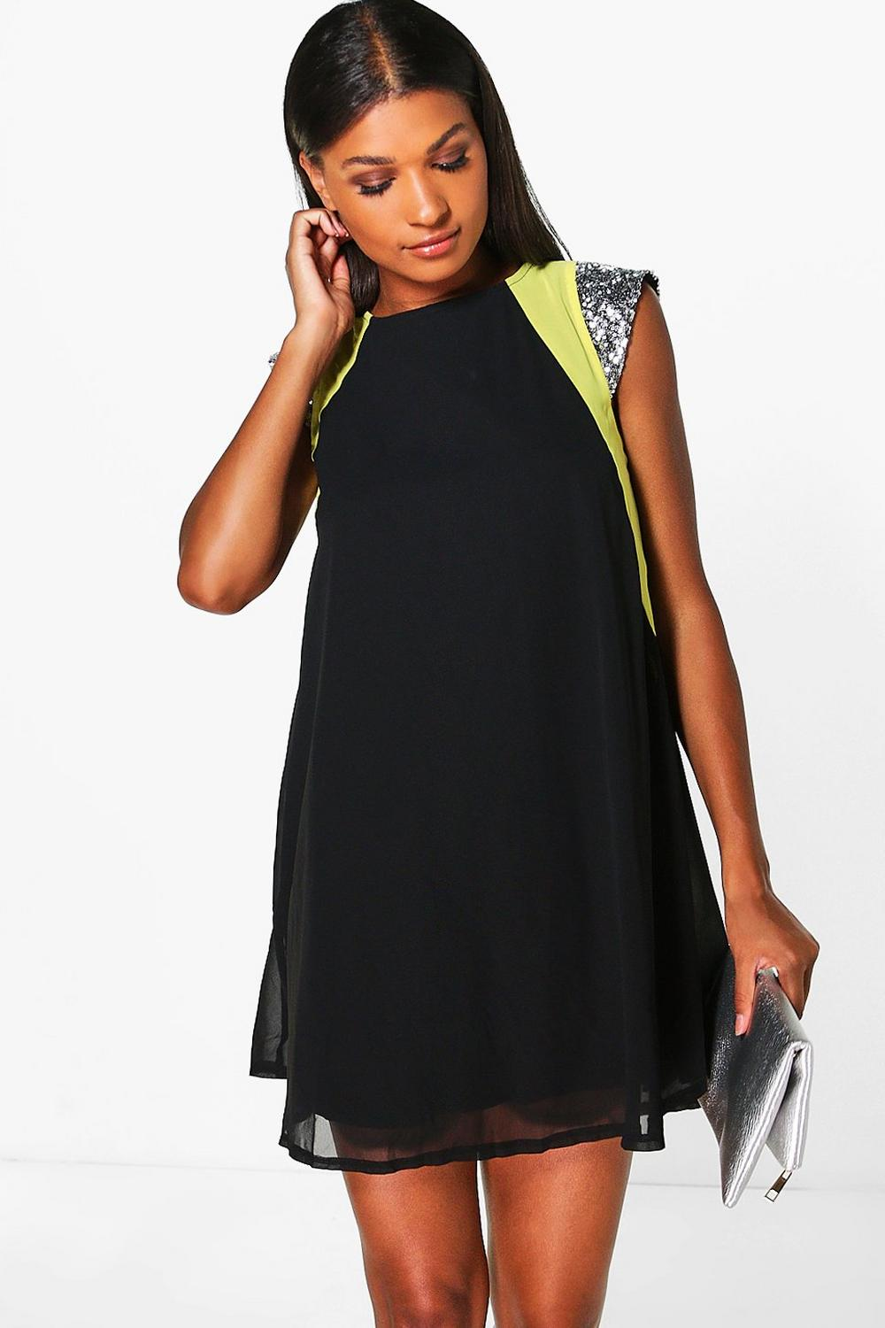 Tanya Sequin Shoulder Neon Flash Swing Dress