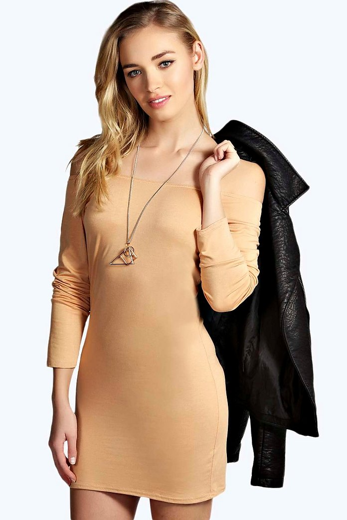 Alice Off The Shoulder Long Sleeve Bodycon Dress