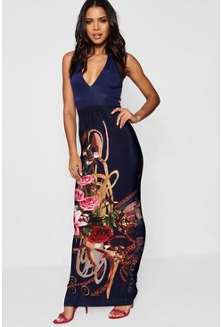 Bethany Boarder Print Halter Neck Maxi Dress