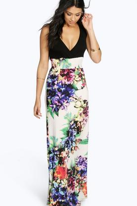 Rosa Floral Contrast Top Maxi Dress
