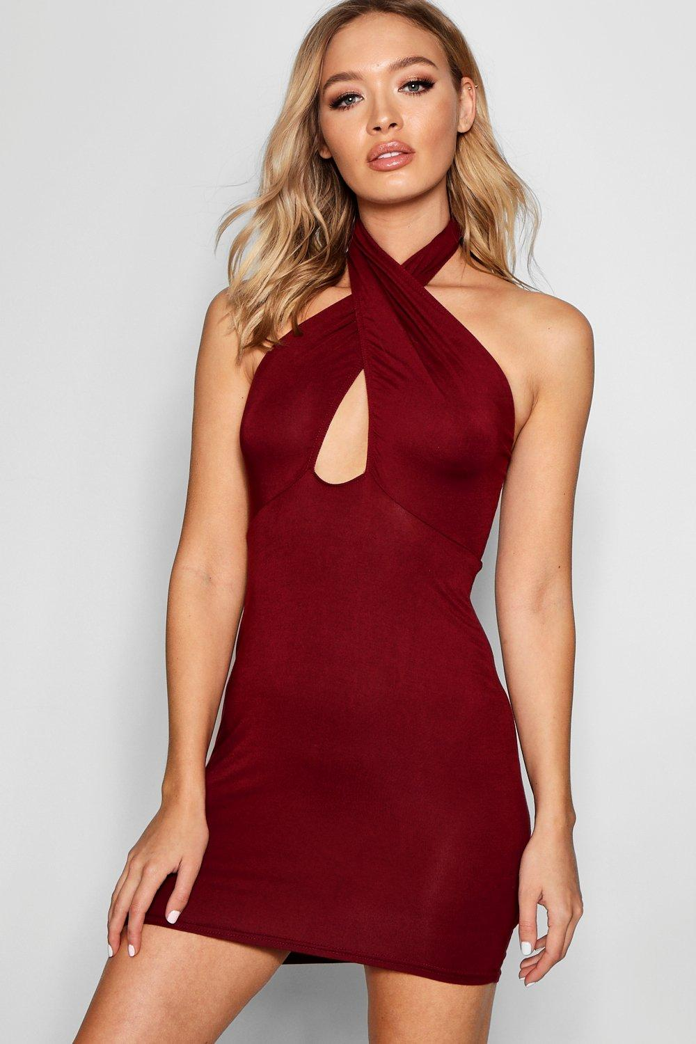 Halter Neck Wrap Over Bodycon Dress  berry