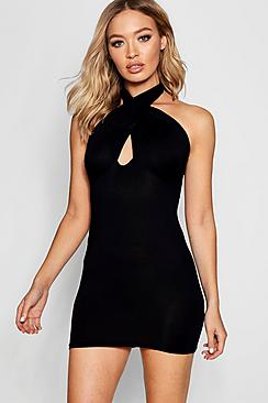 Tamzen Halter Neck Wrap Over Bodycon Dress