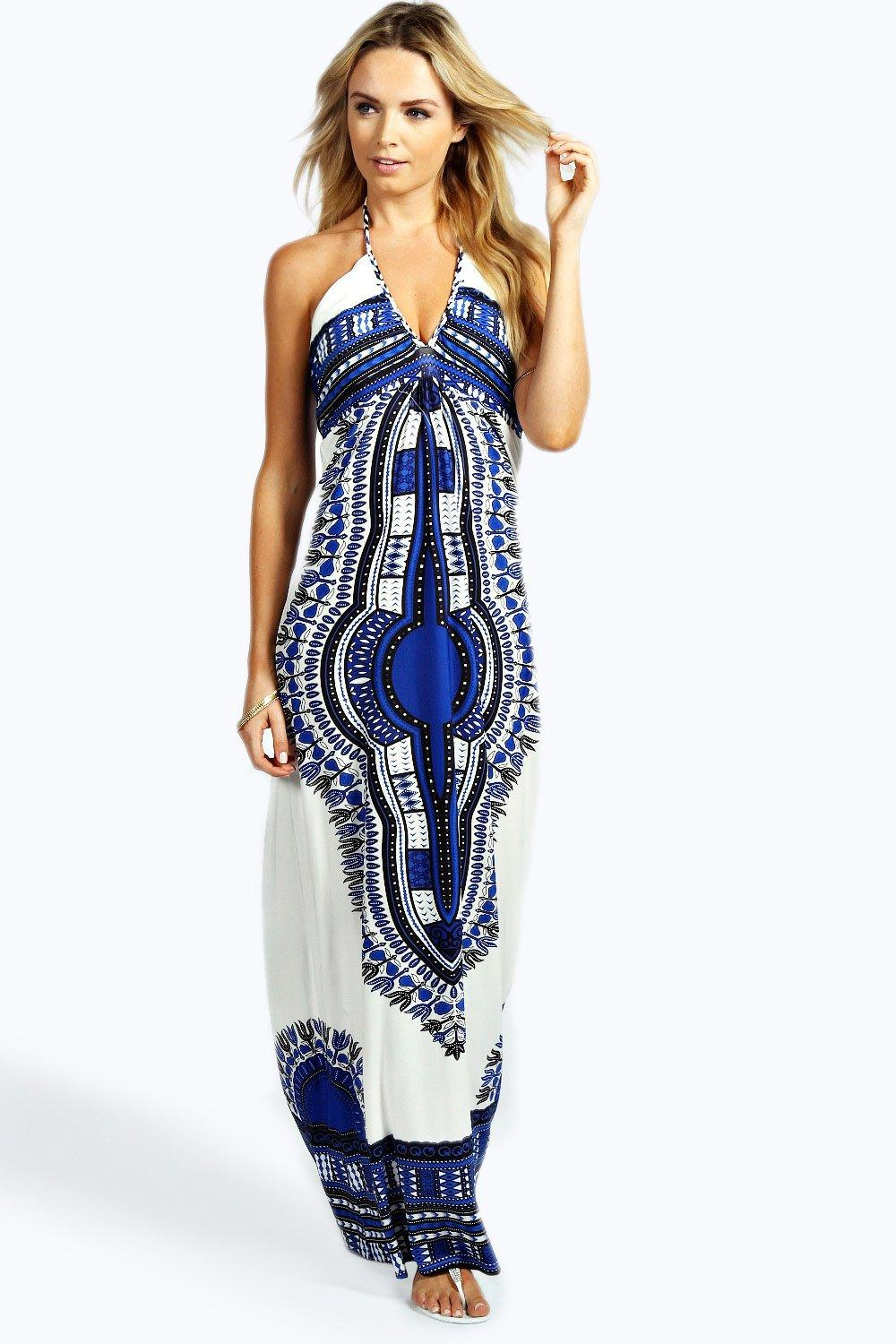 Megan Placement Print Halterneck Maxi Dress | Boohoo