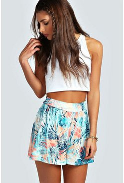 Abbie Palm Print Flippy Shorts
