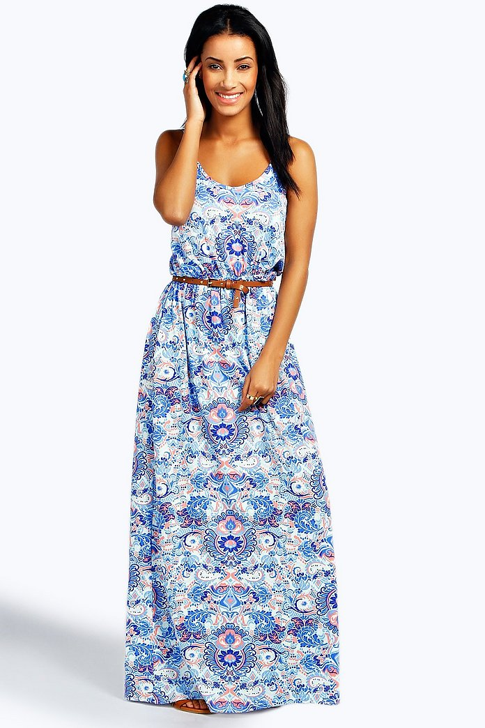 Hayley Double Strap Printed Maxi Dress