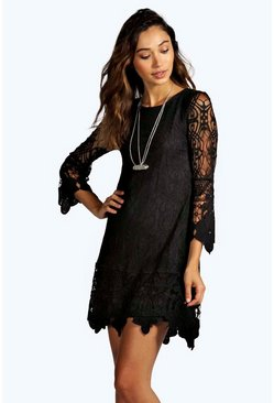 Boutique Maddie Flower Lace Long Sleeve Smock Dress