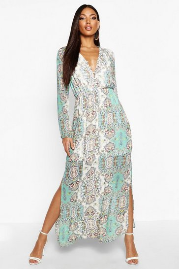 Multi Cage Detail Paisley Woven Maxi Dress