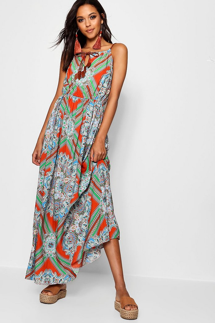 Lina Plait Detail Paisley Print Maxi Dress