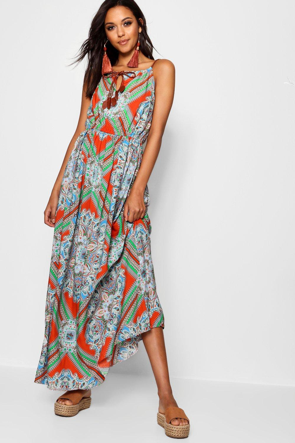 Lina Plait Detail Paisley Print Maxi Dress | Boohoo