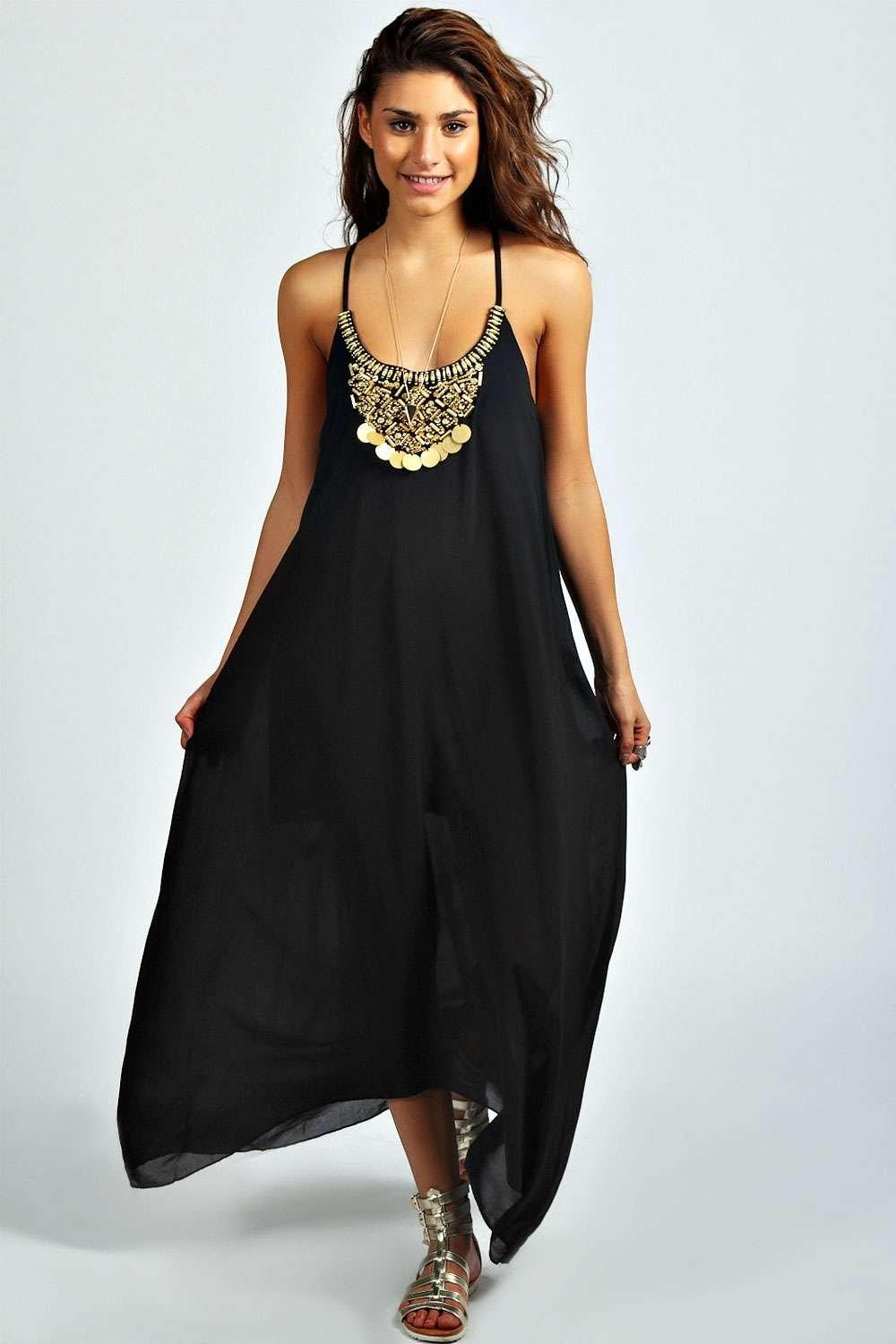 Ida Beaded Necklace Dip Hem Maxi Dress | Boohoo