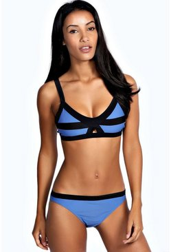 Haiti Contrast Trim Cut Out Front Bikini