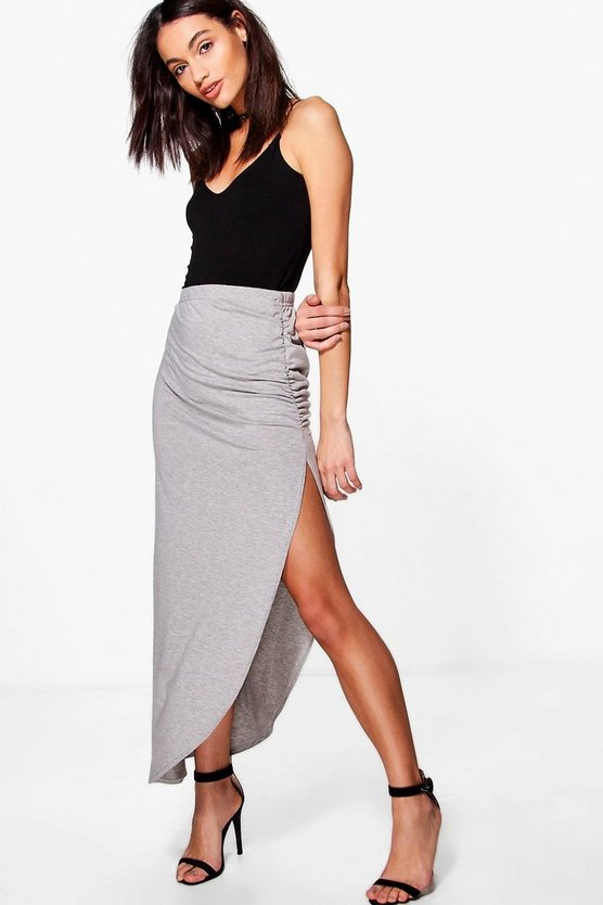 Ruched Side Jersey Maxi Skirt