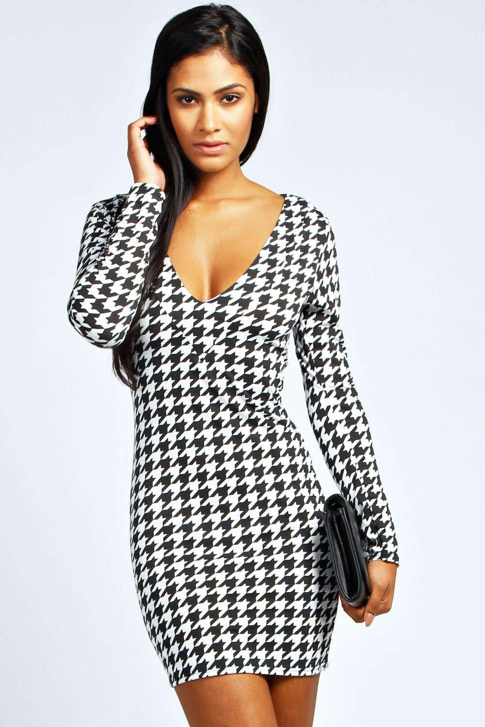 Danni Dogtooth Plunge Neck Bodycon Dress