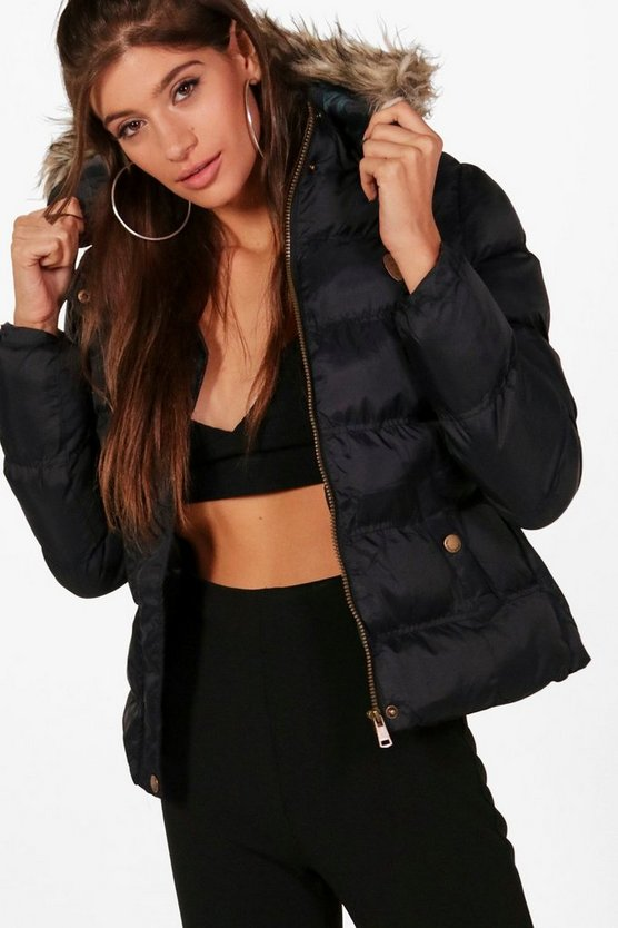 Katia Quilted Faux Fur Trim Hood Coat