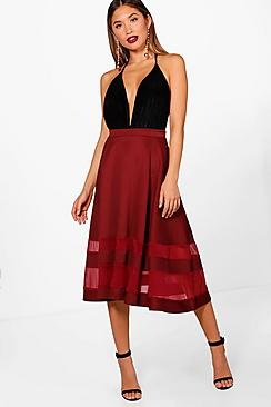 boohoo female ivy double mesh midi skirt
