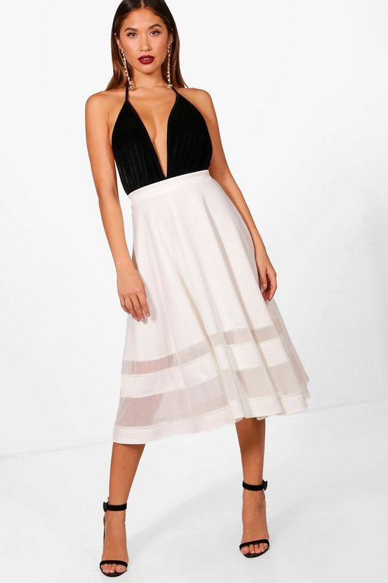 Ivy Double Mesh Midi Skirt