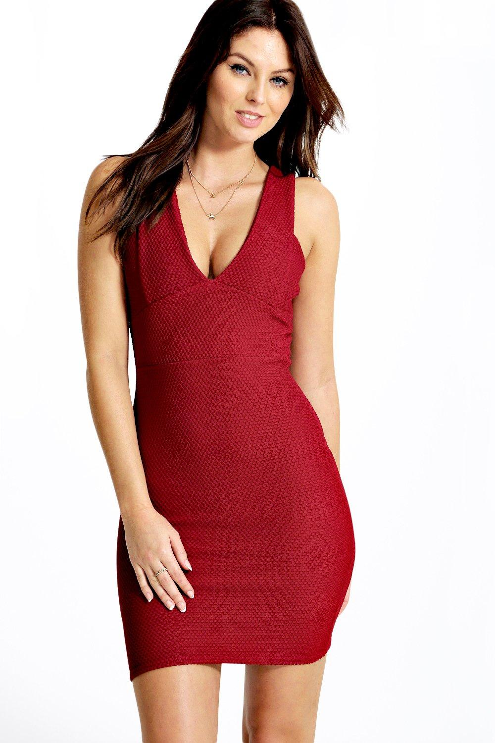 Callie Textured Plunge Neck Bodycon Dress