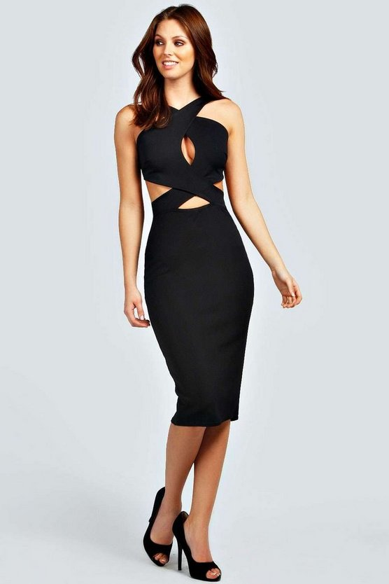 Vivian Cut Out Detail Midi Bodycon Dress