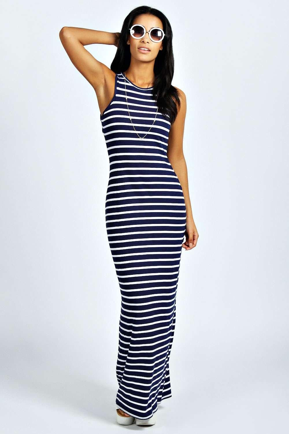 Darcey Striped Cut Away Maxi Dress
