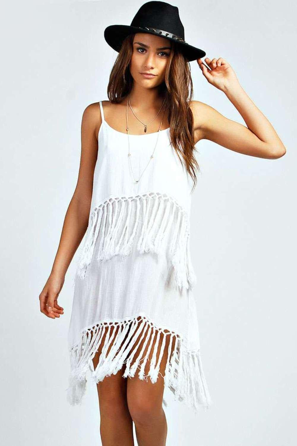 Esther Double Layer Fringed Beach Dress