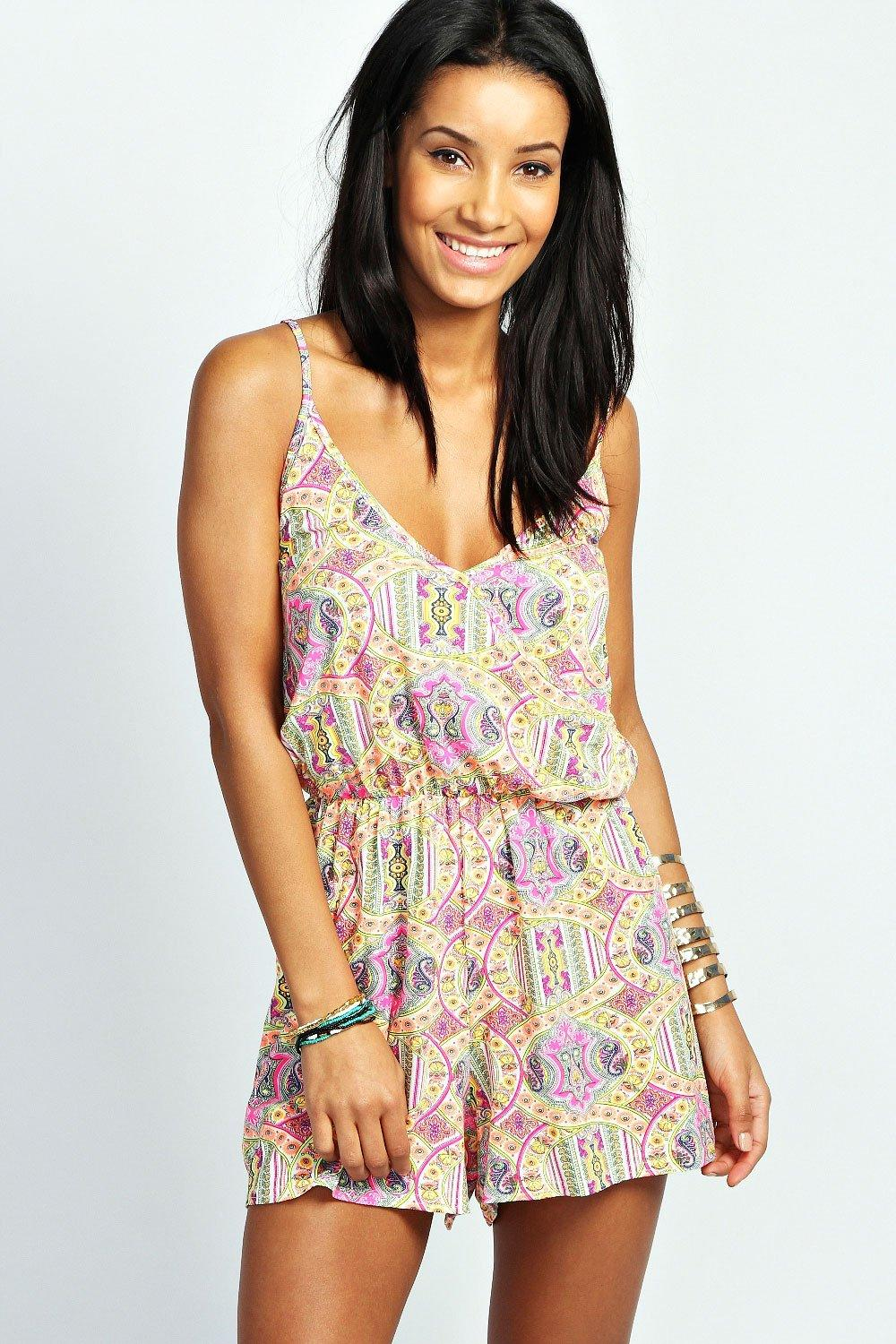 Neon Paisley Strappy Cross Front Playsuit multi