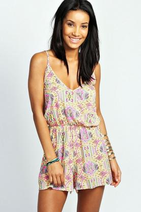 Pheobe Neon Paisley Strappy Cross Front Playsuit