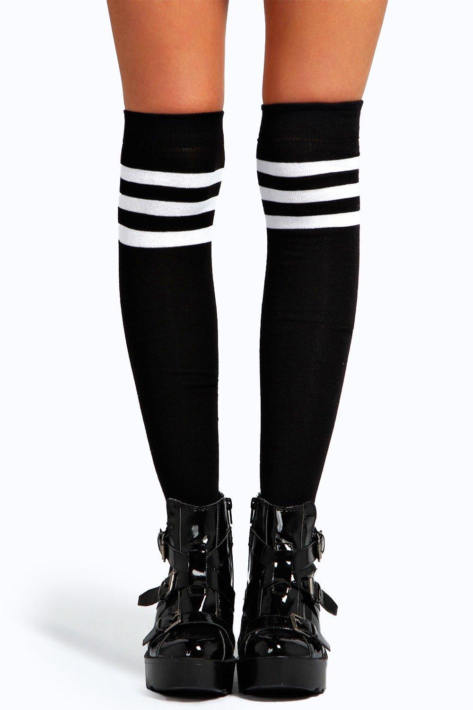 Stripe Top Knee High Socks black