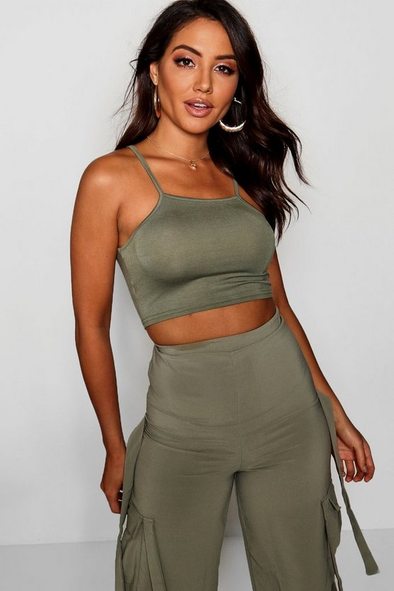 Cally Basic Spaghetti Strap Super Crop Top