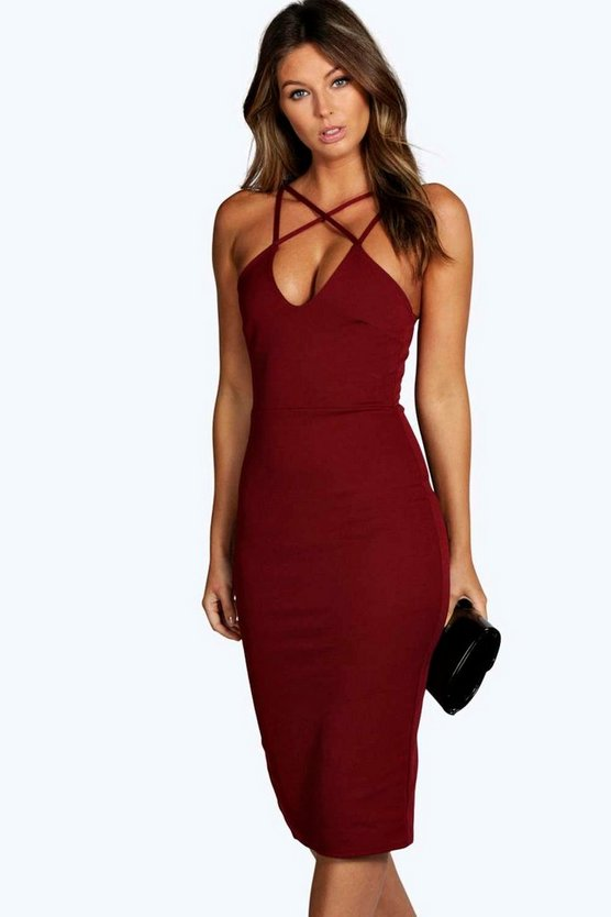 Clara Strappy Detail Bodycon Midi Dress