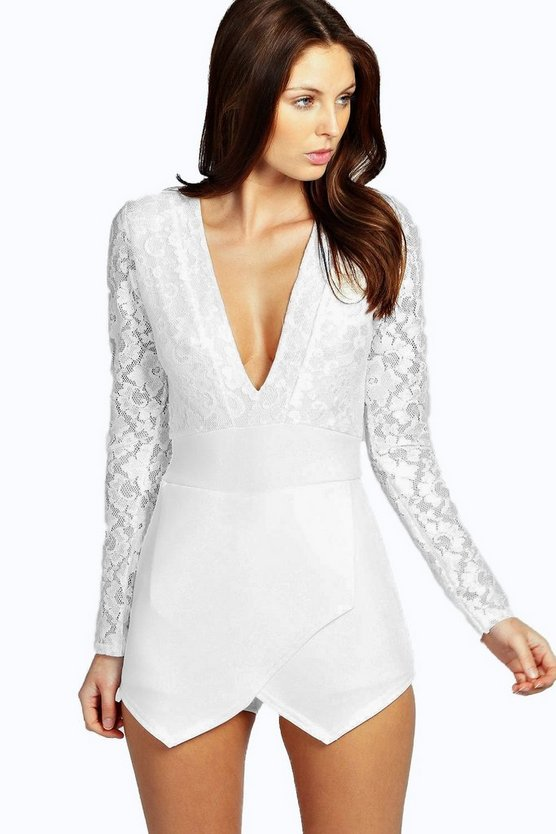 Kaya Long Sleeve Lace Plunge Skort Playsuit