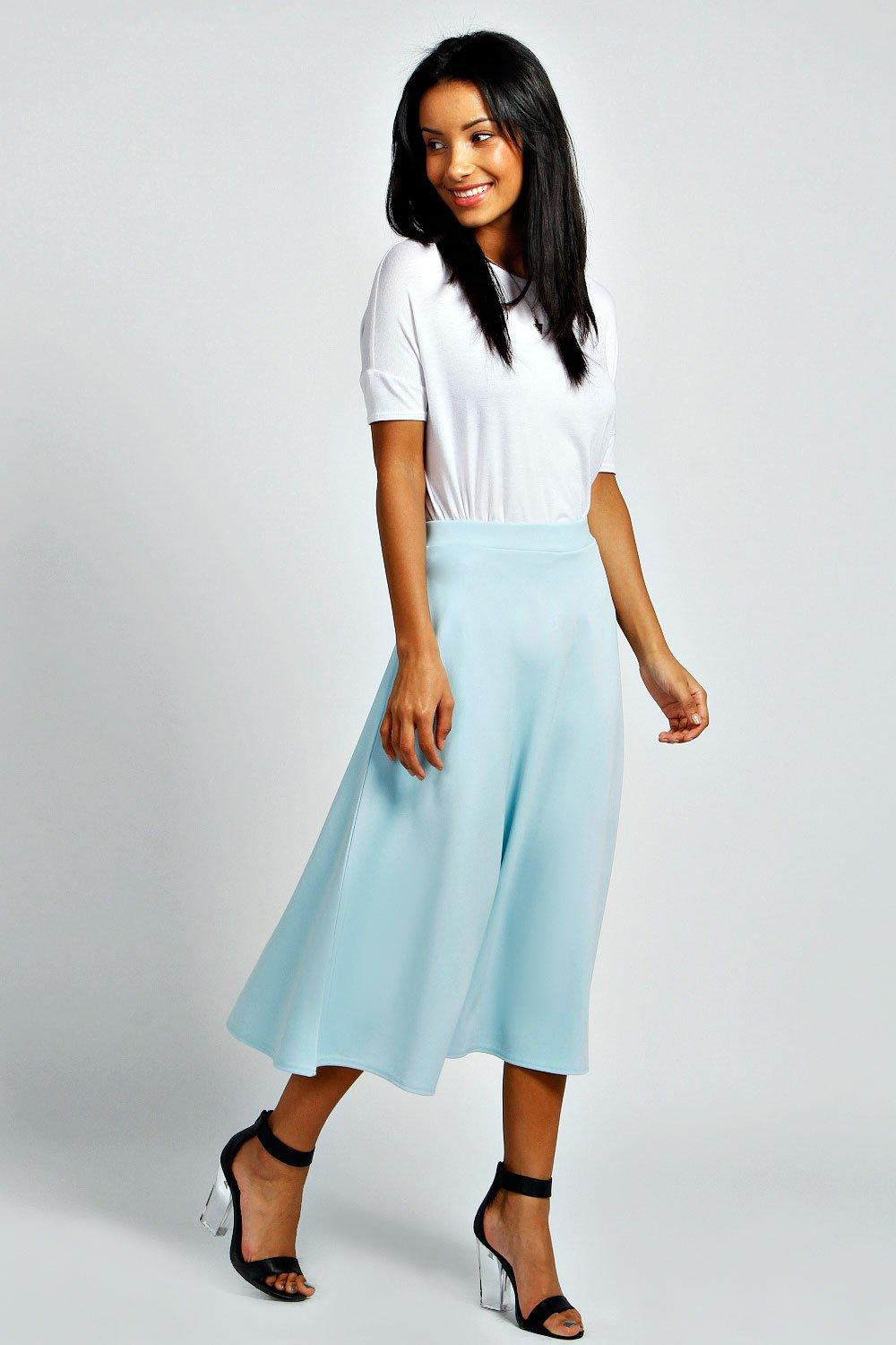 boohoo Arianna Full Circle Midi Skirt - blue