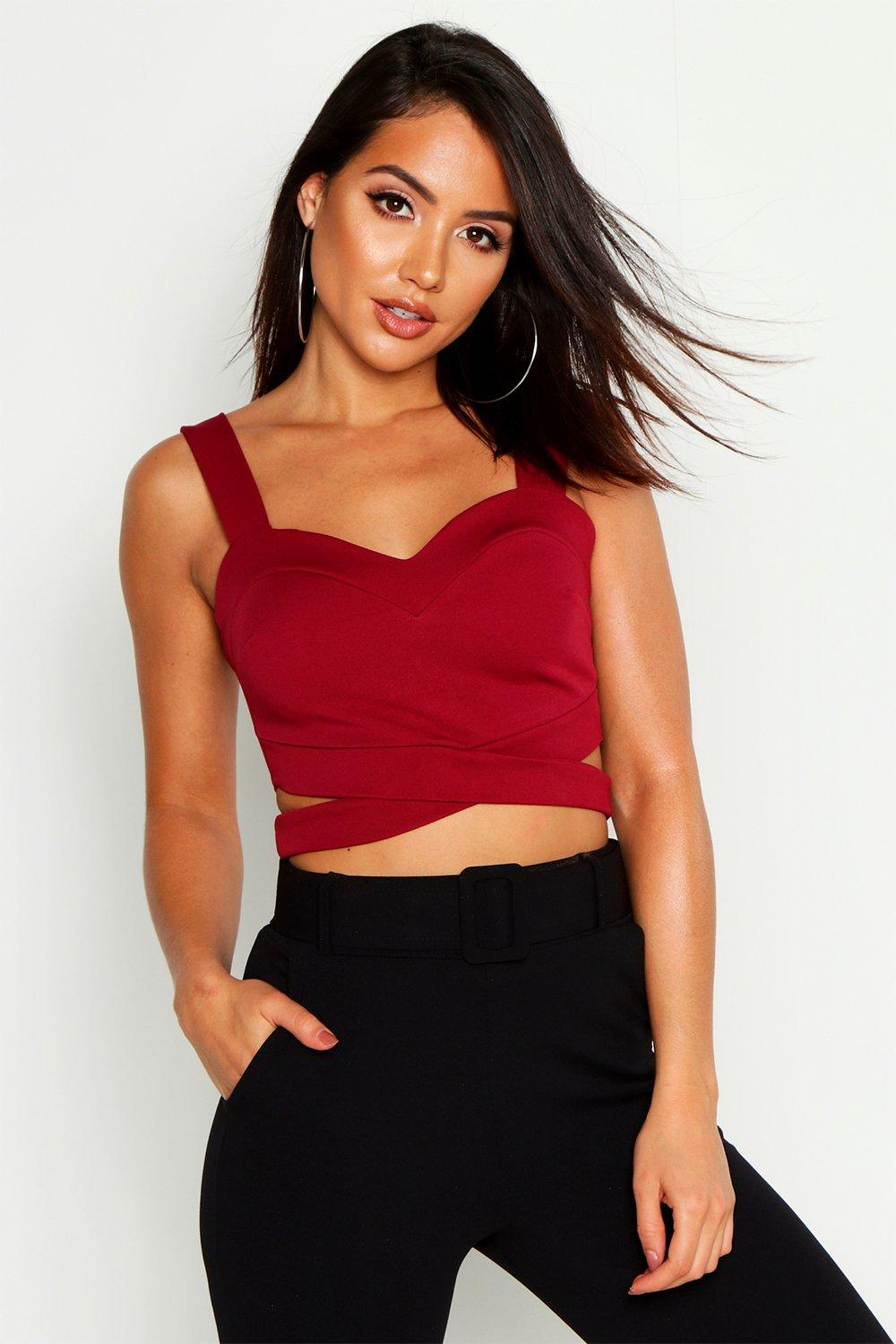 Womens Bralette mit Cut-outs - Weinrot - 40, Weinrot - Boohoo.com