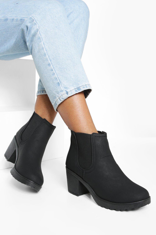 boohoo Womens Chunky Cleated Heel Chelsea Boots - Black - 8, Black