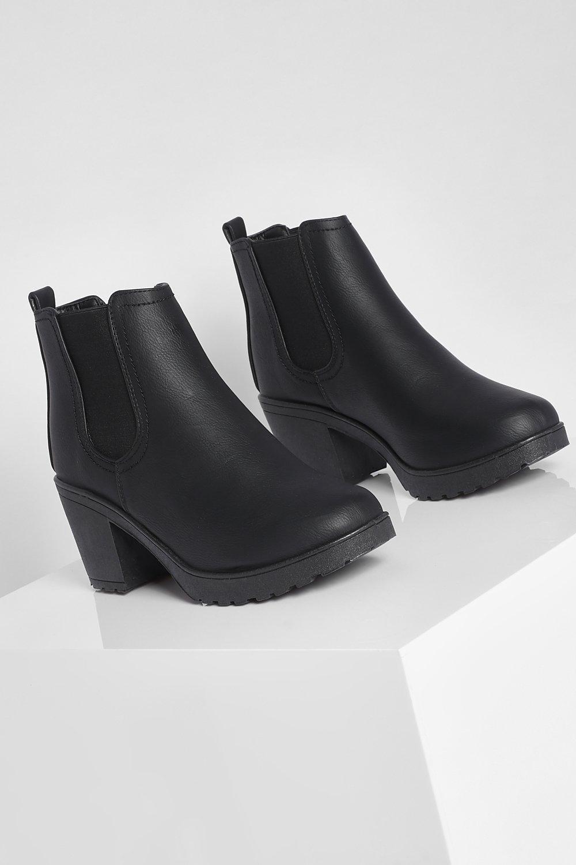 Tia Chunky Cleated Heel Chelsea Boot | Boohoo