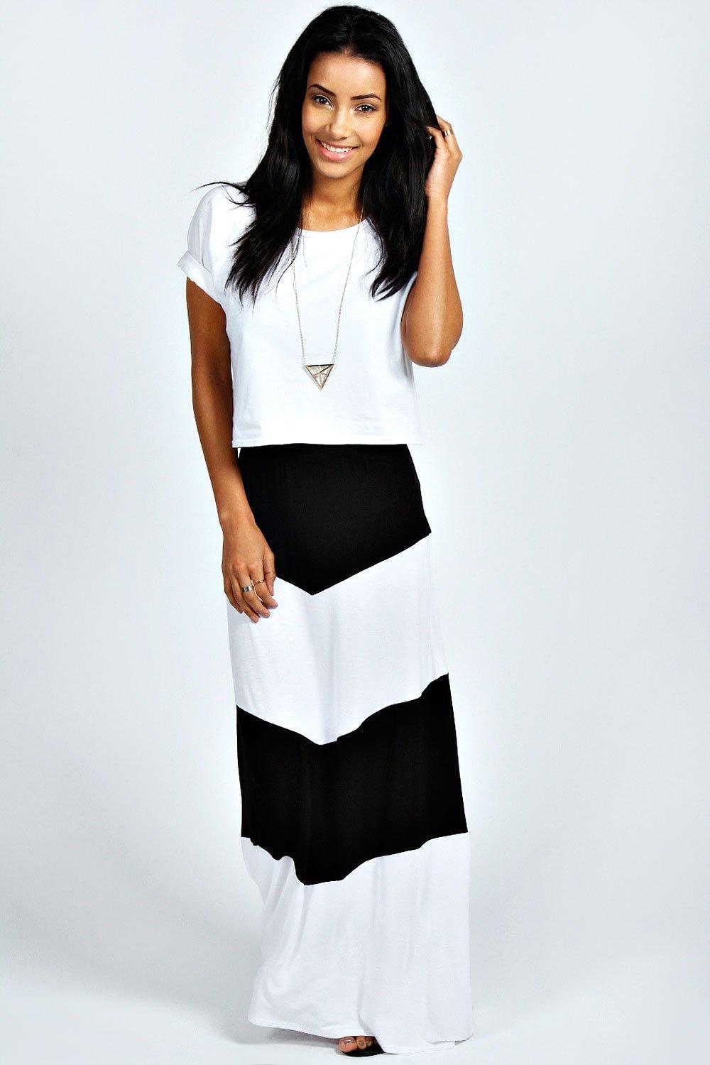 Mysha Large Striped Jersey Maxi Skirt