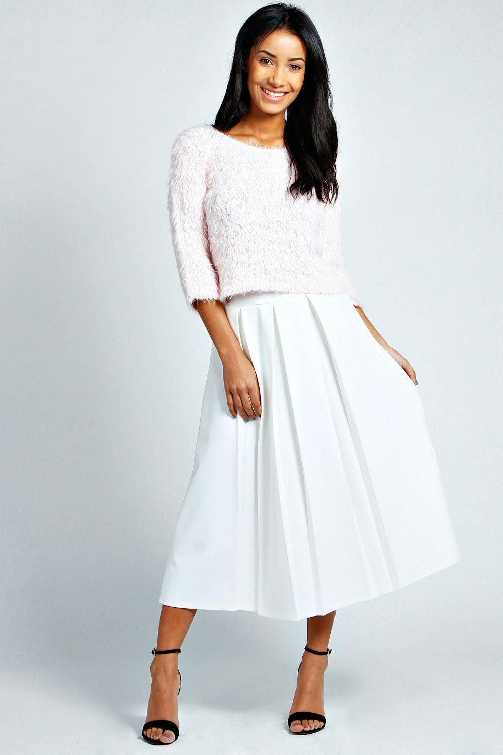 boohoo Bea Box Pleat Midi Length Scuba Skater Skirt - ivory