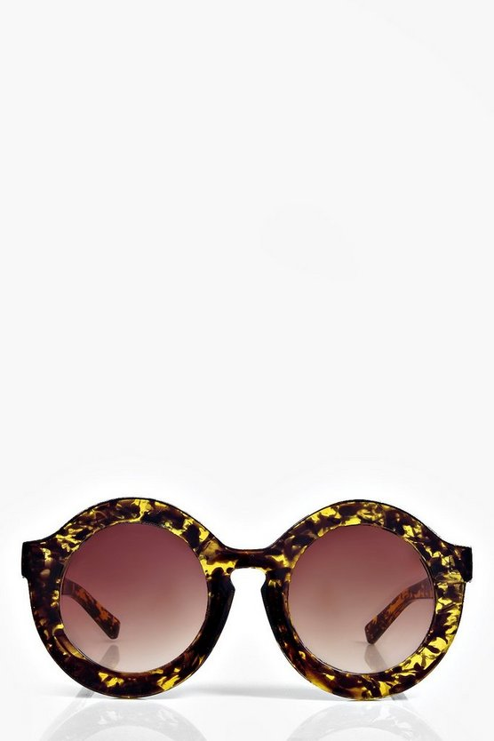 Claudia Oversize Round Mirrored Sunglasses