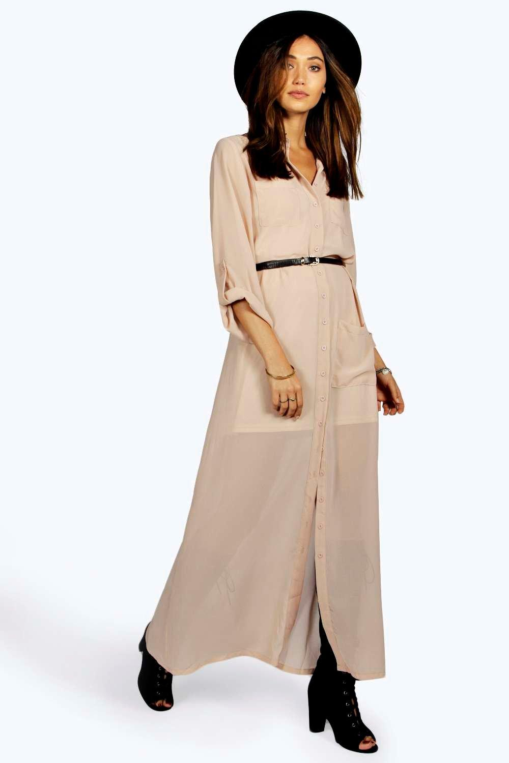 Una Maxi Chiffon Shirt Dress