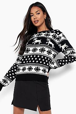 Pullover natalizio renne e fiocchi