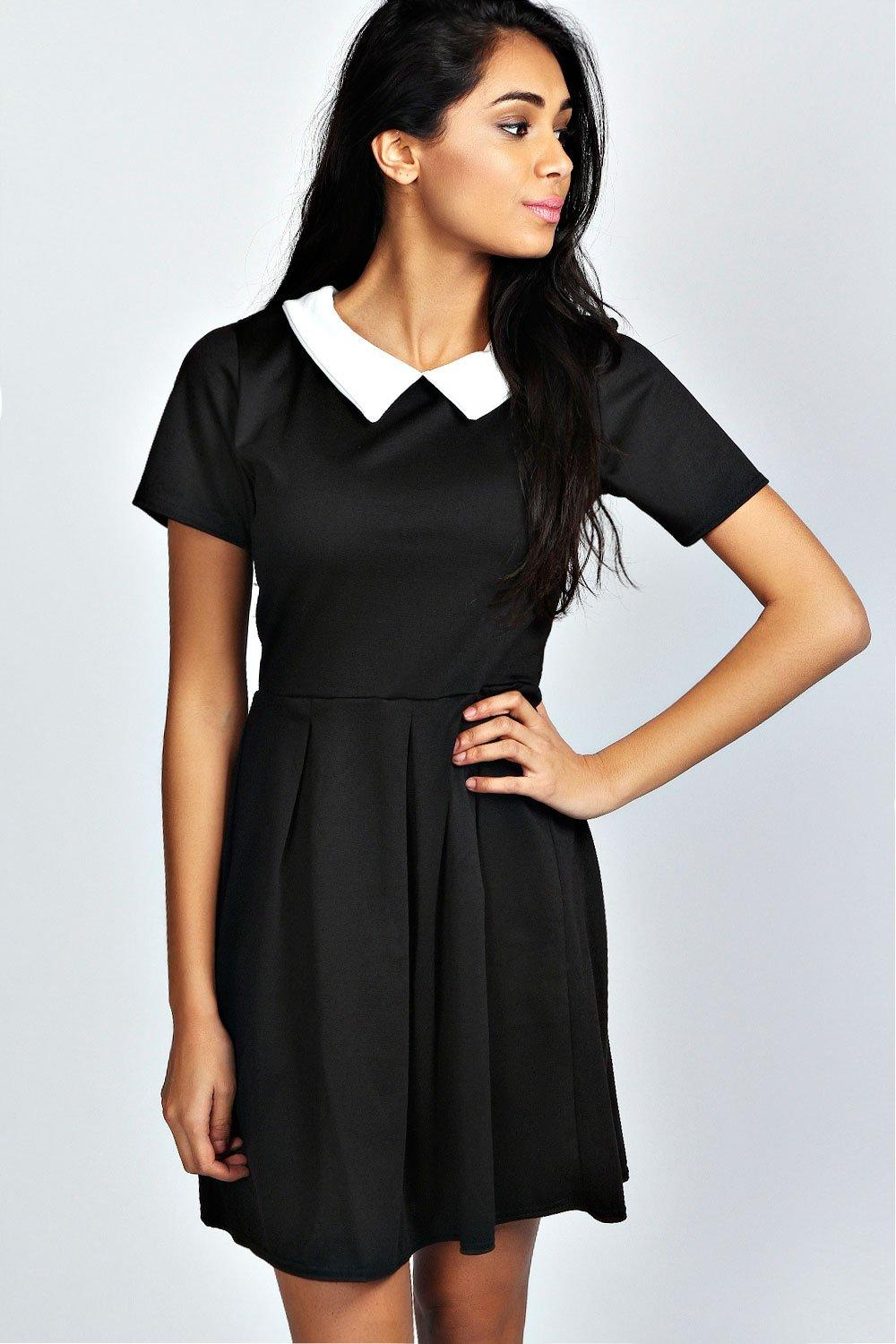 Felicity Contrast Collar Skater Dress
