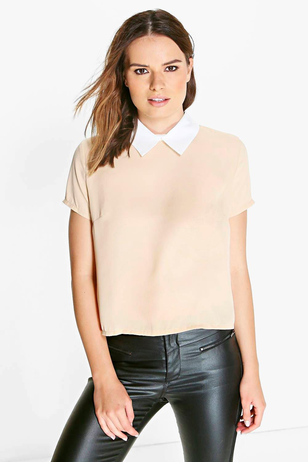 Boohoo Womens Ladies Amelia Short Sleeve Contrast Collar